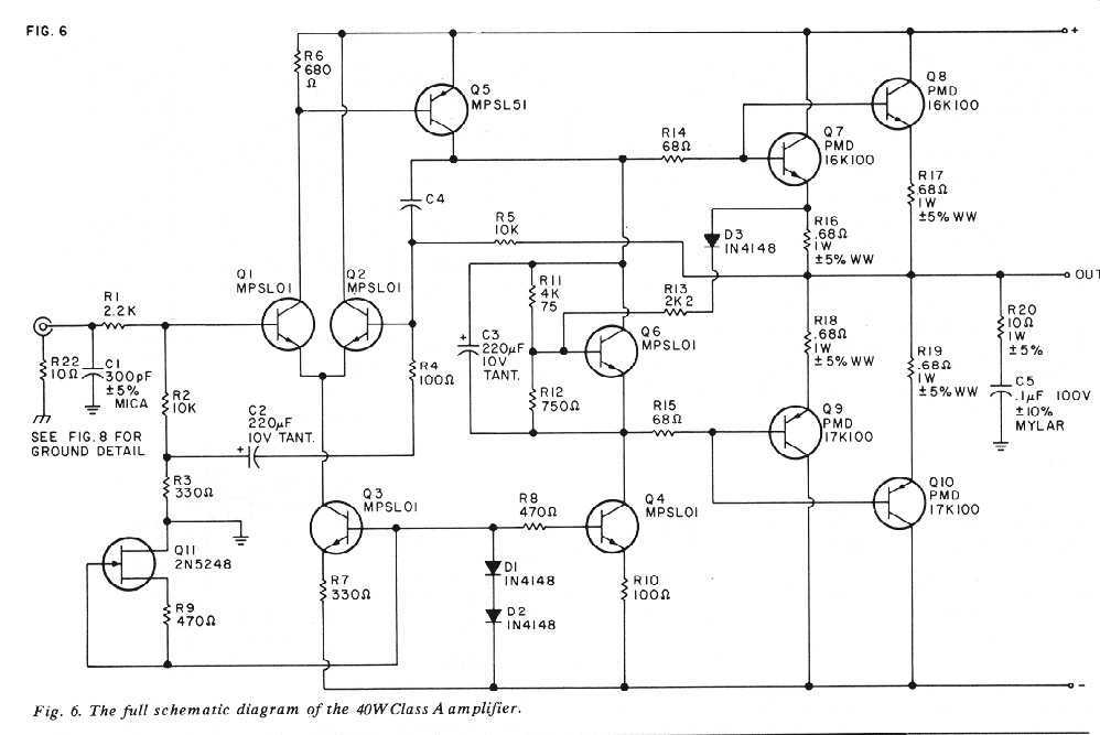 class a 40w into 8 ohms amplifier under audio amplifier circuits