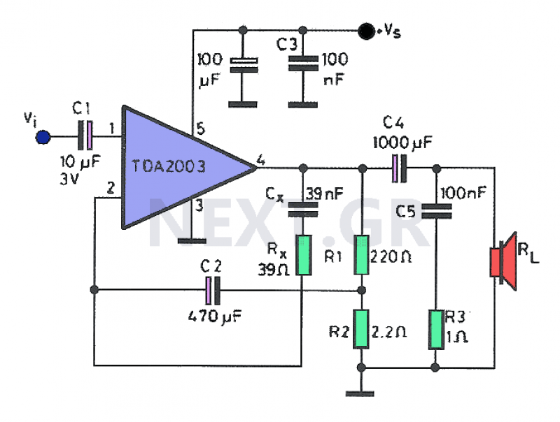 8W Amplifier with TDA2003 circuit - schematic