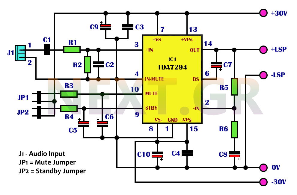 50 Watt Hi-Fi power amplifier circuit - schematic