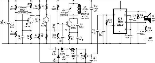 metal sensor detector circuit schematic - schematic