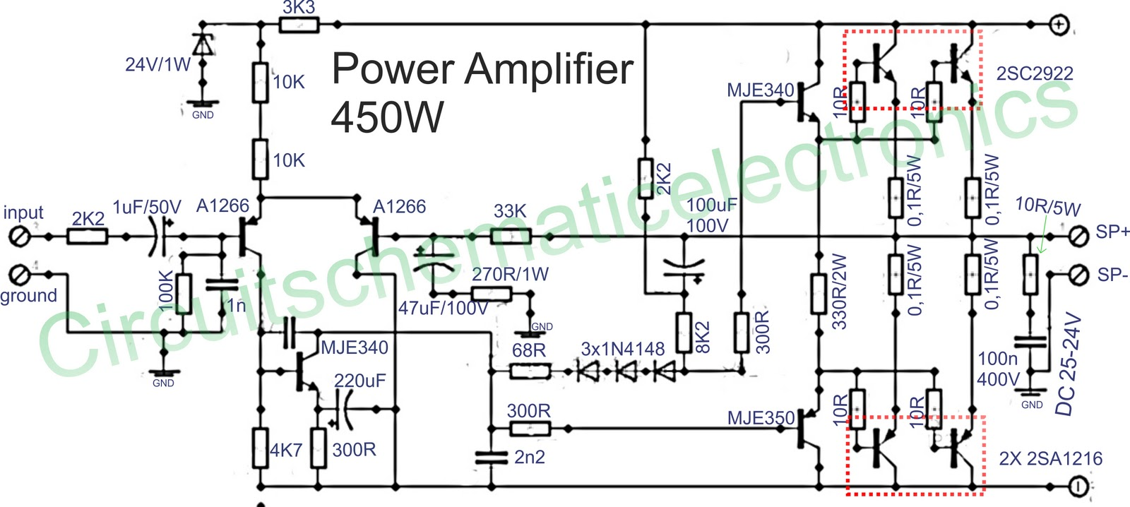 450w Audio Power  lifier Circuit L20743 on 12v transformer wiring diagram