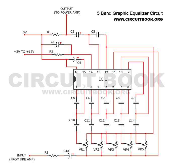 Simple 5 Band Graphic Equalizer Circuit Diagram