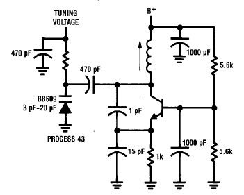 Simple 50 to 300 MHz Colpitts Oscillator - schematic