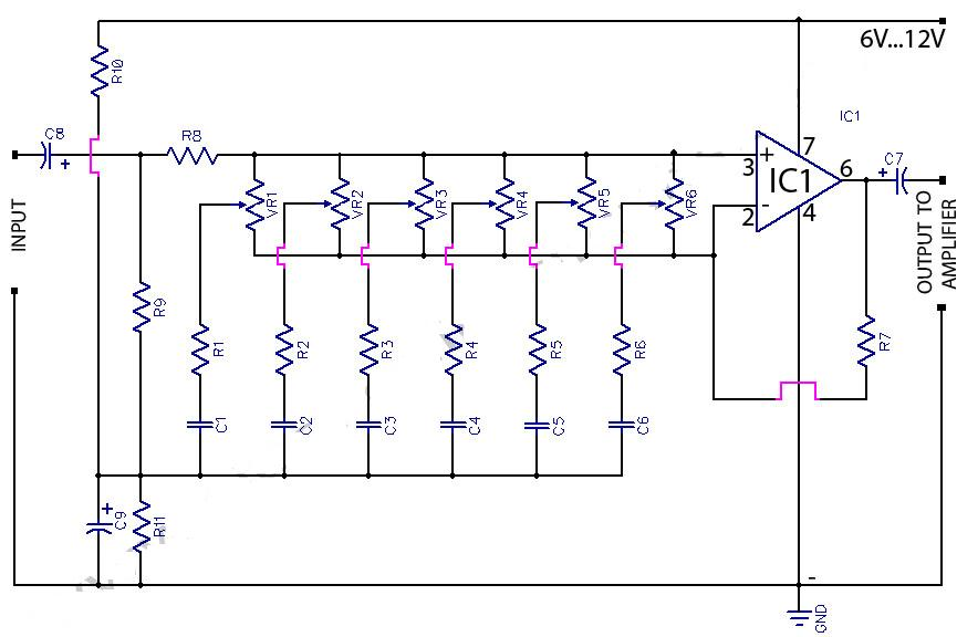 6 graphic equaliser circuit 741 op amp - schematic