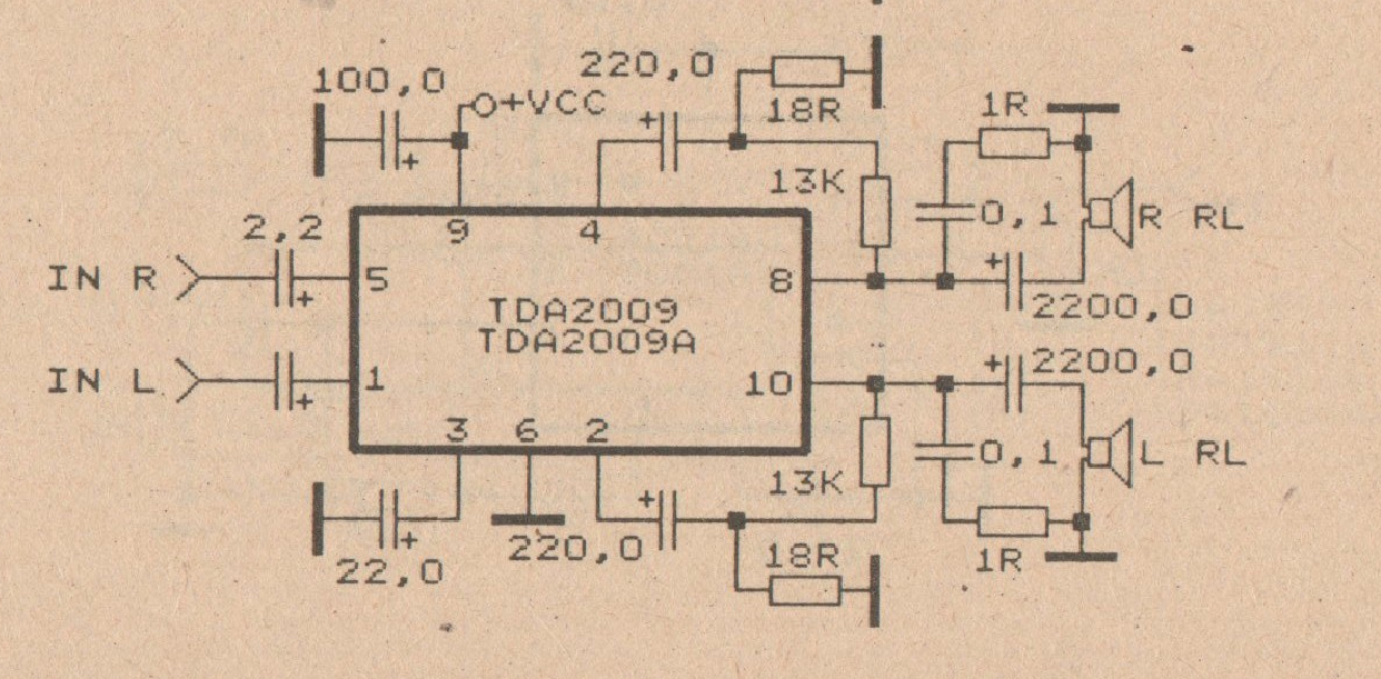 2 X 20 W car amplifier circuit with TDA2009 Schematic Diagram