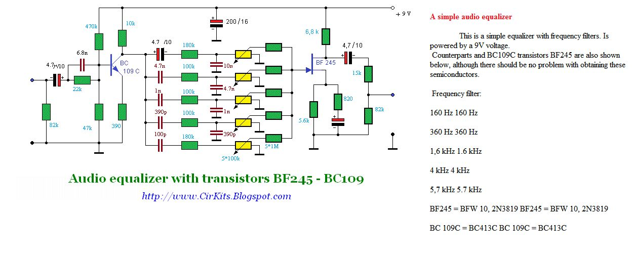 Audio equalizer with transistors BF245 - BC109 - schematic