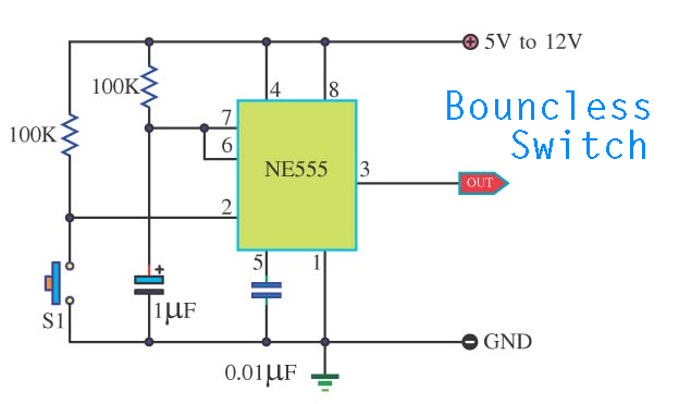 Bouncless Switch with NE555 Schematic Diagram - schematic