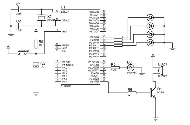 interfacing buzzer with 8952 - schematic