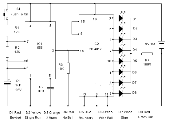 Electronic Cricket Match Game - schematic