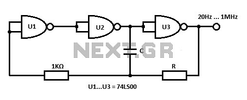 IC square wave generator circuit - schematic