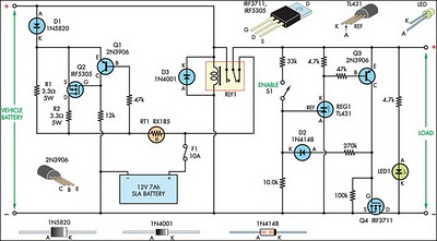In-Car Charger And Switcher Circuit For SLA Battery Circuit - schematic
