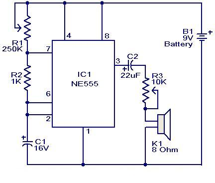 Metronome Generator Circuit using NE555 - schematic