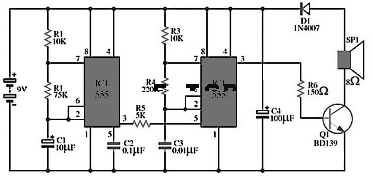 high power siren circuit using cd40106 the simple siren circuits