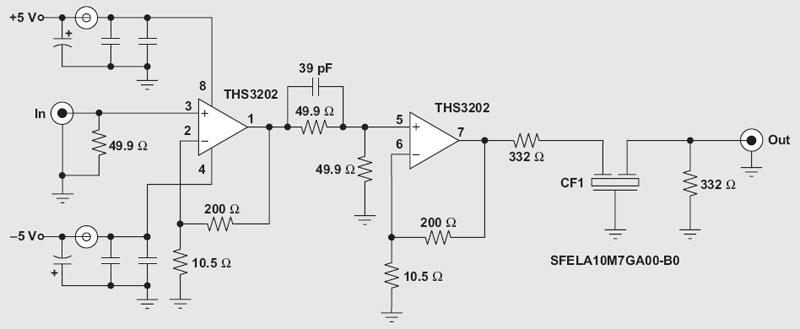 rf amplifier with op amp - schematic