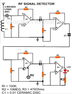 How to Make a Cell Phone RF Signal Detector Circuit - schematic