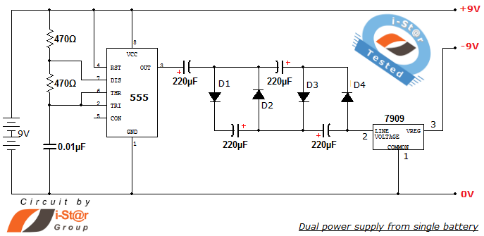 regulated dual power supply circuit from single battery source