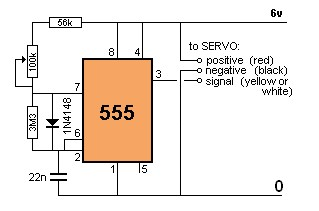 Electronic Circuit Schematic of Servo Motor Controller using IC NE555 - schematic