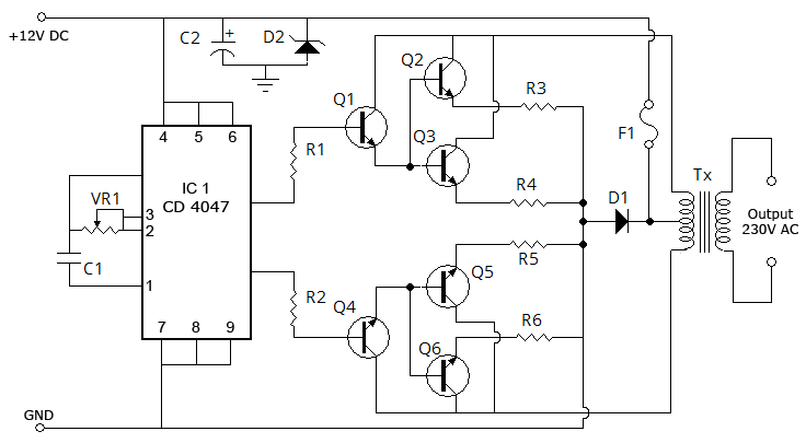 inverter circuit page 5 power supply circuits next gr rh next gr Simple Inverter Circuit Diagram