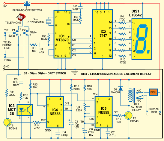 Simple Calling Bell Using an Intercom - schematic