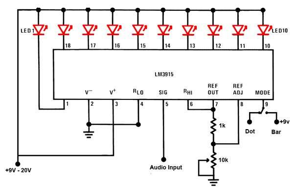 led sound level display circuit by using ic lm3915 under repository-circuits