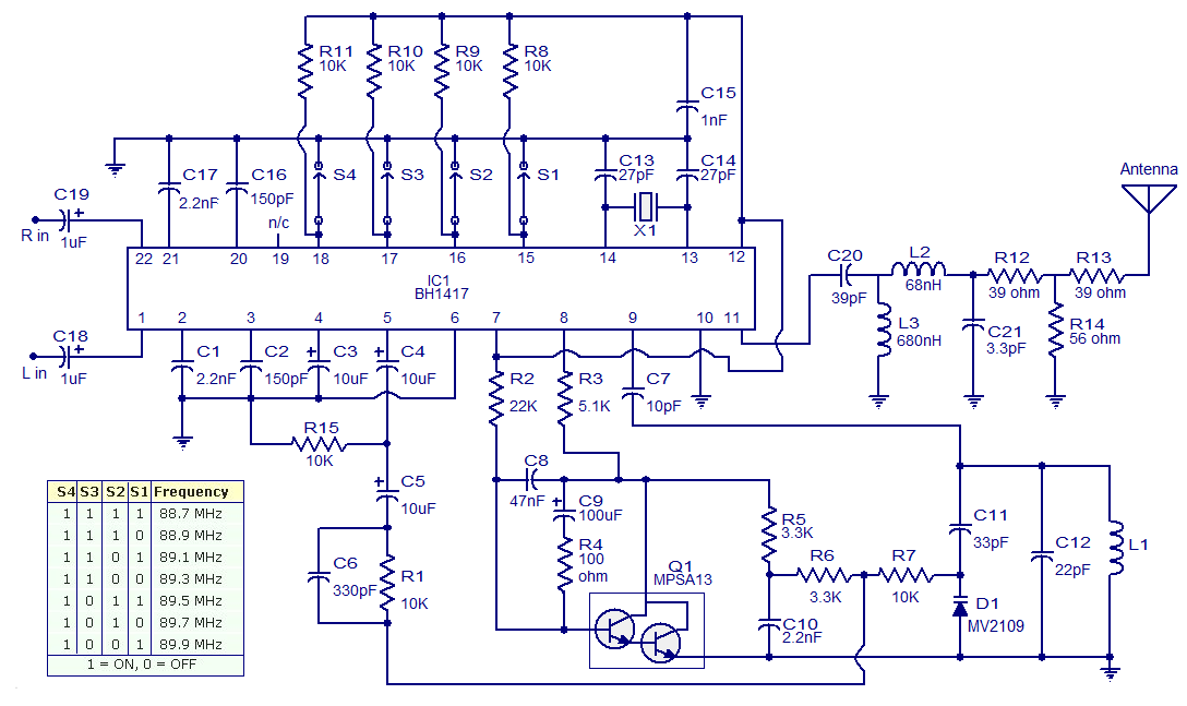 stereo fm transmitter using bh1417 - schematic