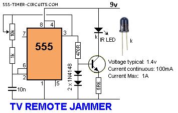 tv remote control jammer - schematic