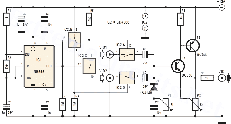 video switch for intercom system 4060 - schematic
