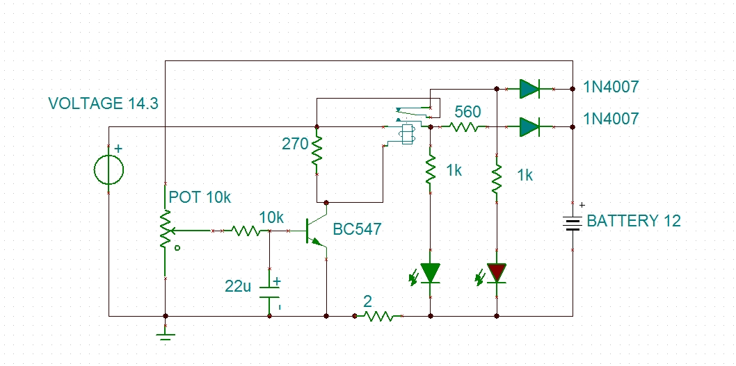 modified battery charger circuit - schematic