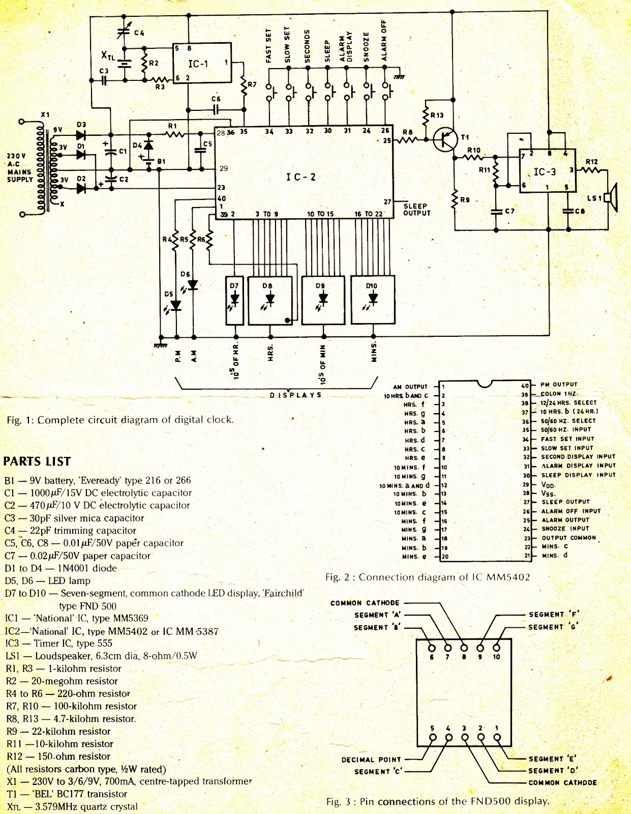 Digital Clock - schematic