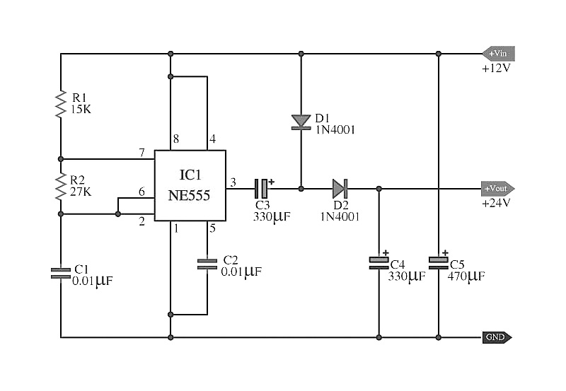 doubler voltage with ne555 schematic