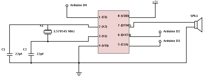 Arduino Producing DTMF Tones - schematic