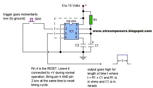basic ic monostable multivibrator - schematic