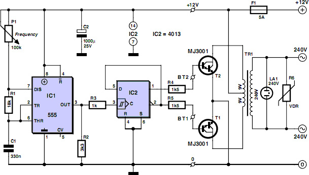 low cost 12v to 220v inverter - schematic