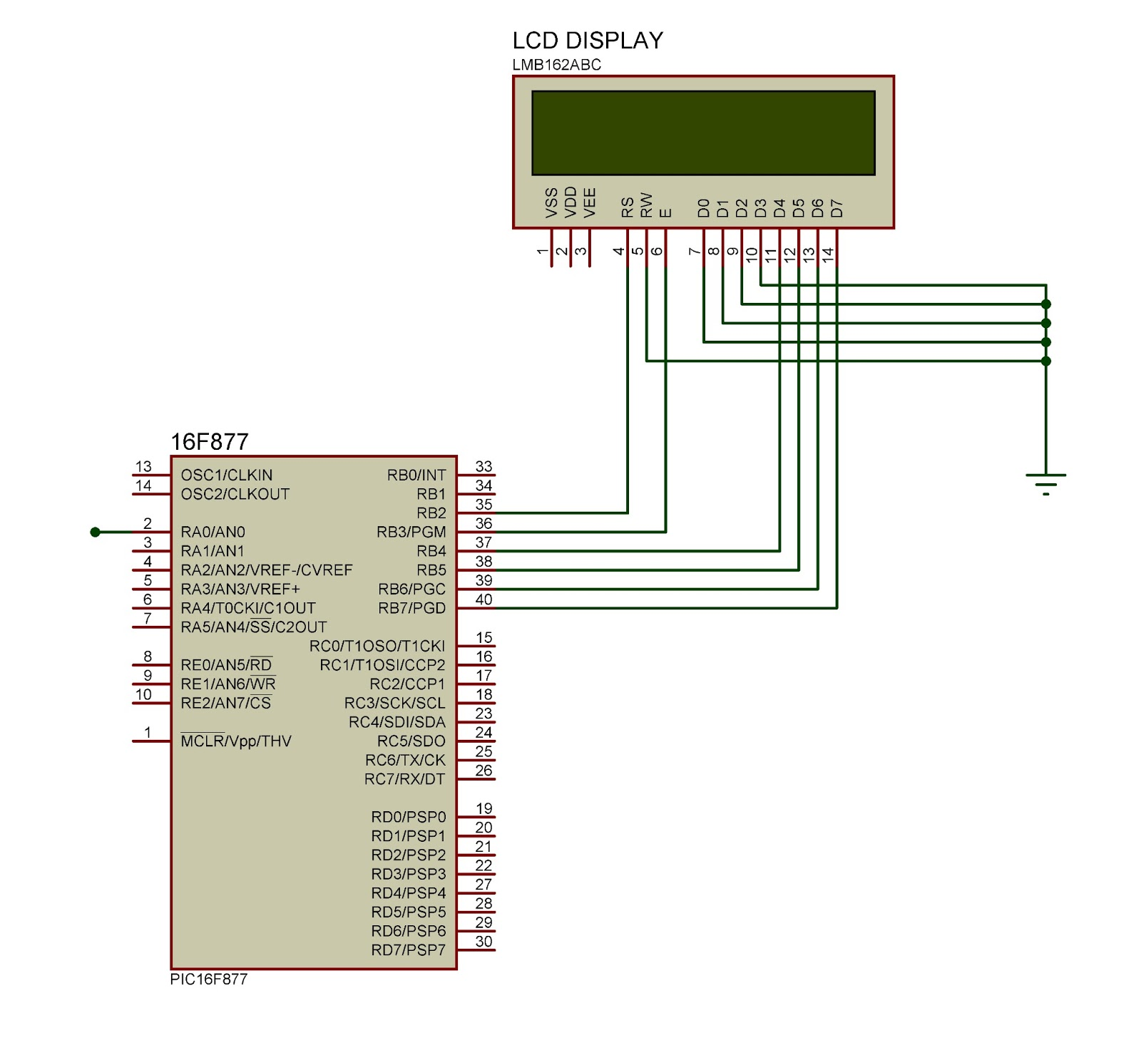 LCD Display with Microcontroller - schematic