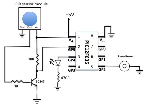 motion sensor using pir sensor module under repository