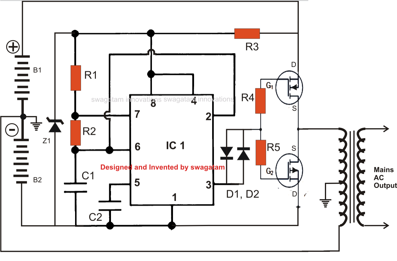 simplest power inverter circuit - schematic