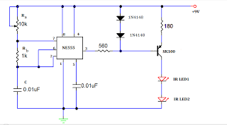 TV REMOTE JAMMER CIRCUIT USING 555 TIMER - schematic