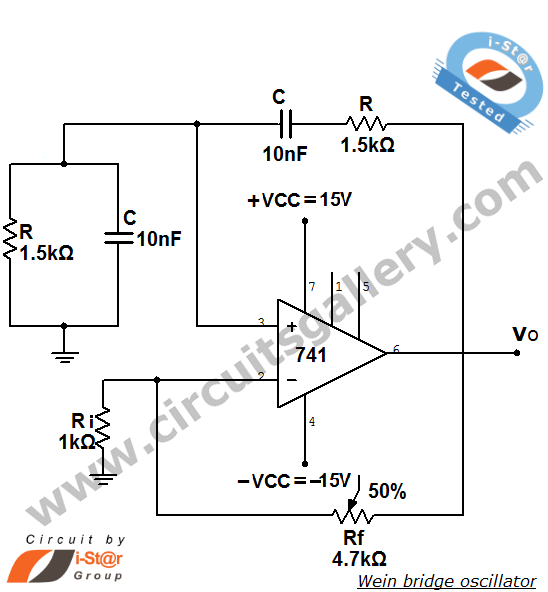 Wein Bridge Oscillator using ic 741 op amp - schematic
