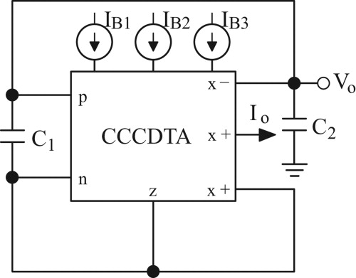 Dual-mode resistorless sinusoidal oscillator using single CCCDTA - schematic