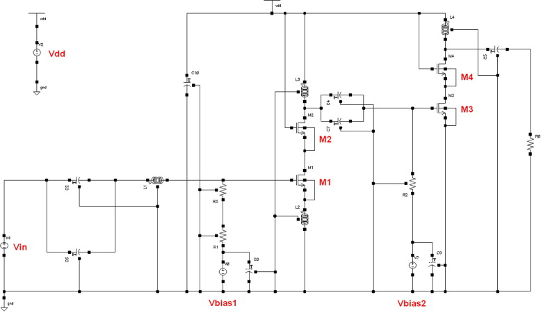 Effect of IC layout on the reliability of CMOS amplifiers - schematic