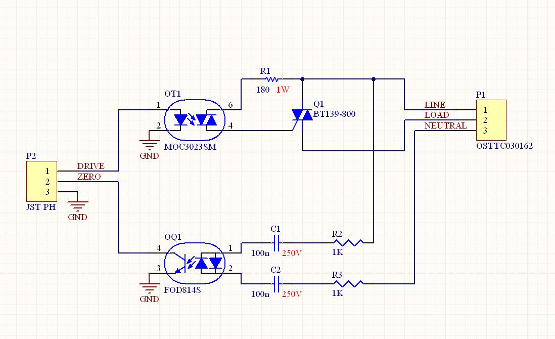 Mains clearance in a TRIAC driver - schematic