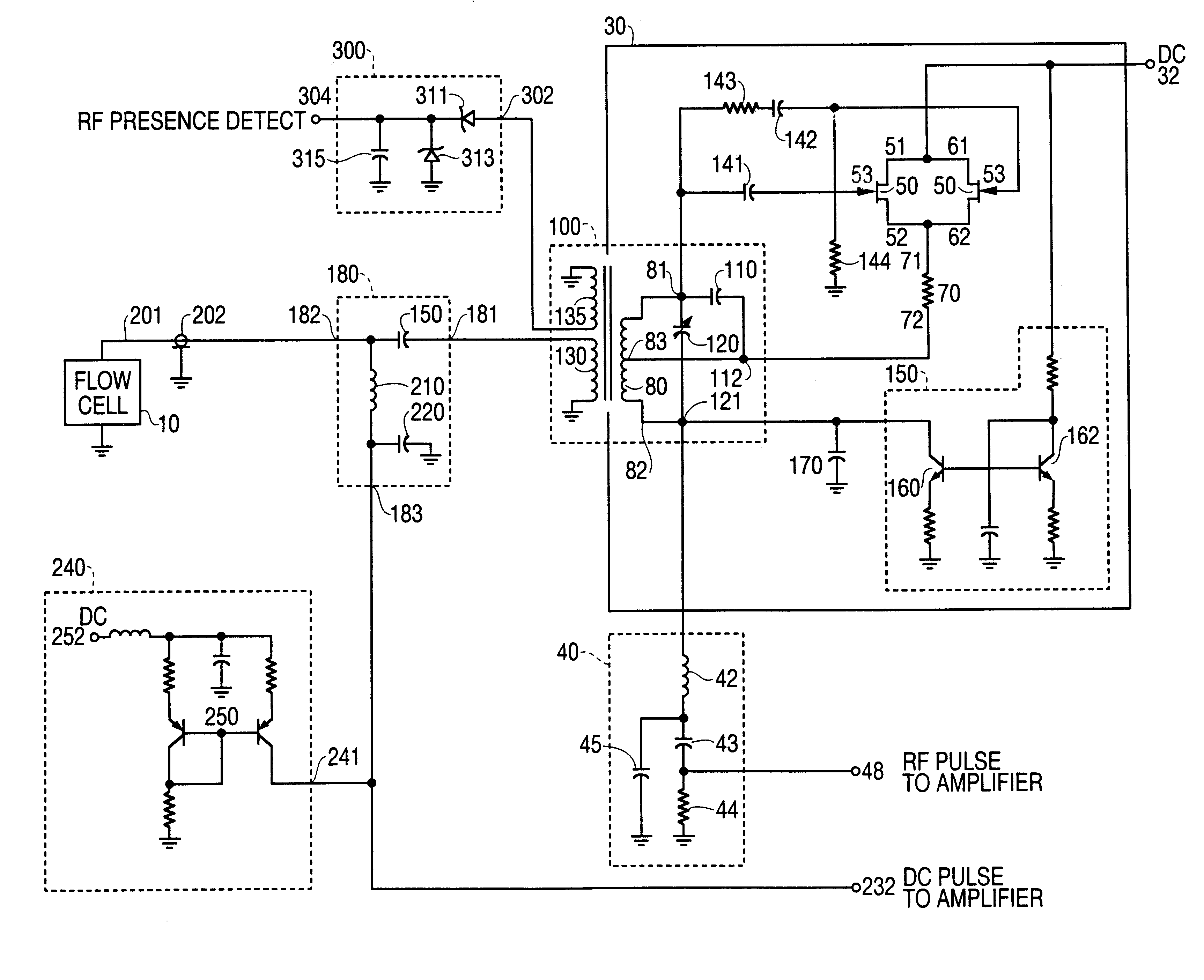 Solid state RF oscillator-detector for flow cytometer - schematic