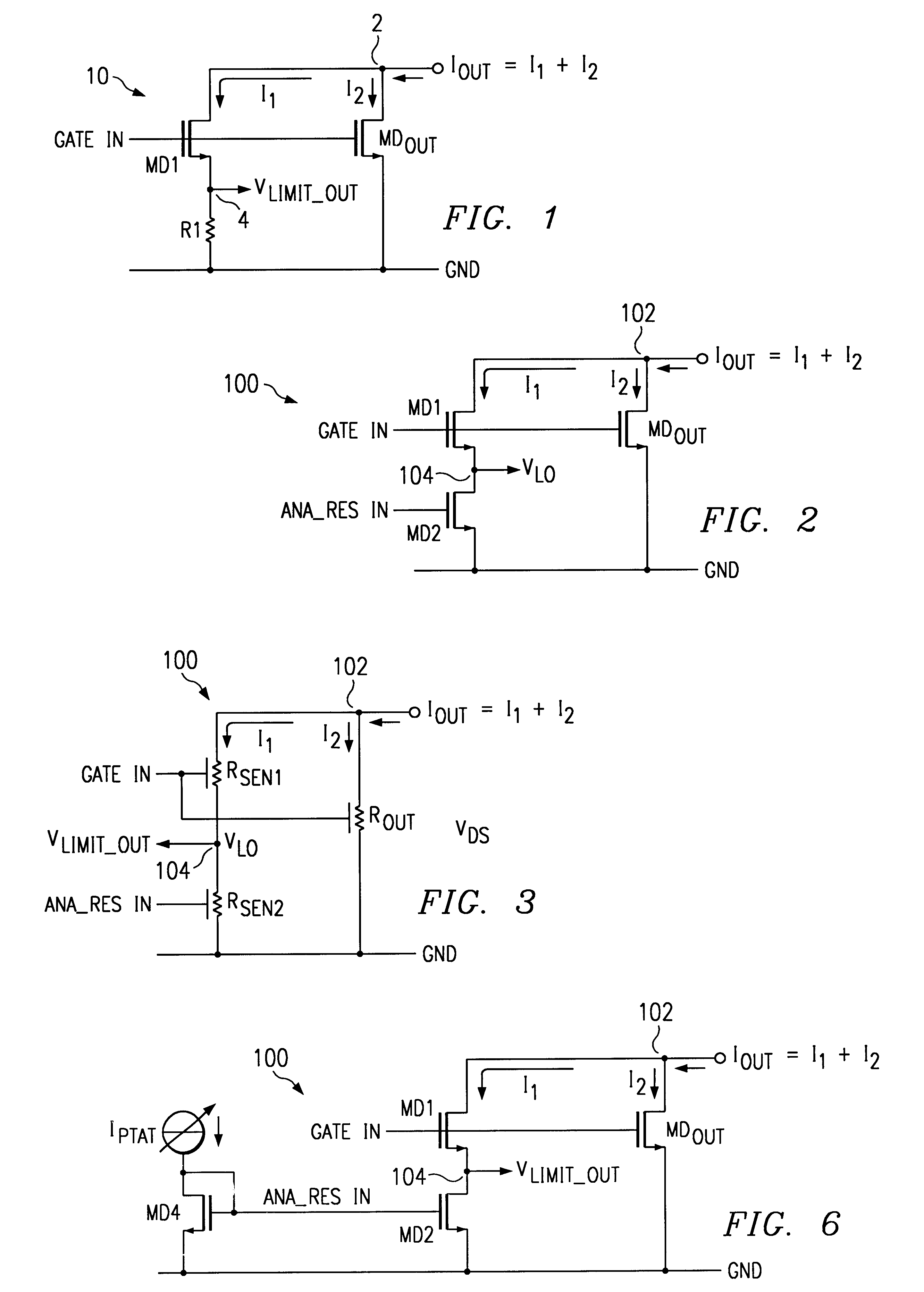 Adjustable current limiting/sensing circuitry and method - schematic