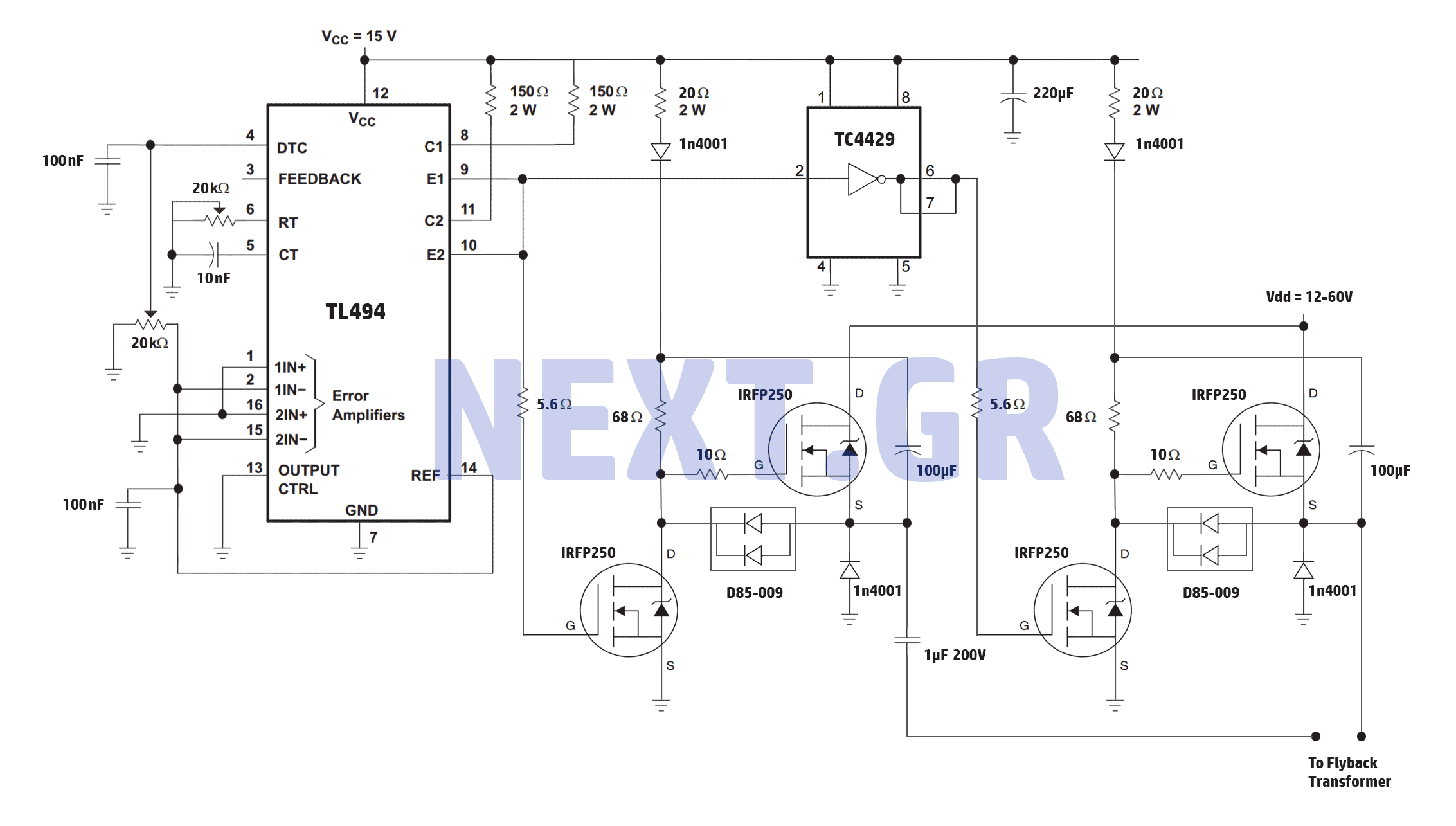 High Power Full Bridge Flyback Driver circuit
