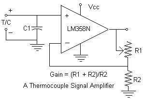 Simple Thermocouple Amplifier circuit - schematic
