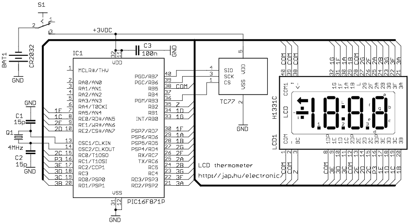Digital LCD thermometer ( PIC16F871 ) - schematic