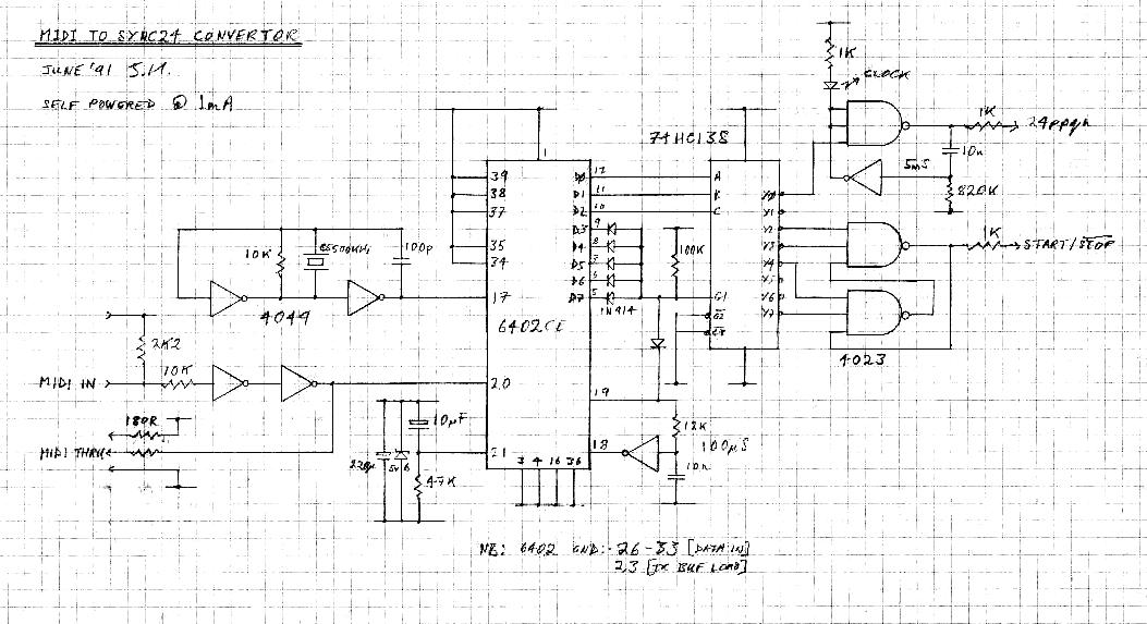 MIDI to Sync24 Convertor - schematic