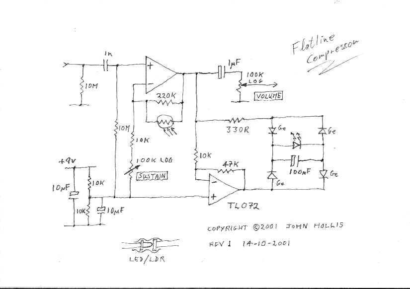 Guitar Flatline Compressor effect - schematic