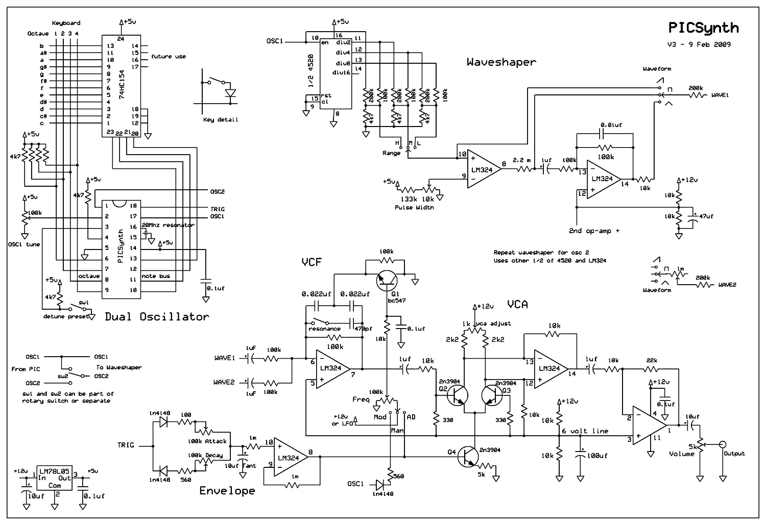 Pic Analogue Synthesizer Musical Effects Circuits Circuit Diagram