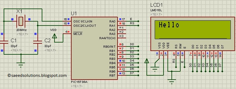 pic16f84a lcd interfacing code in 8bit mode proteus simulation - schematic